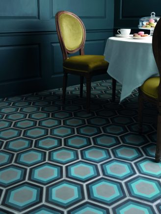 Patisserie Hexagon Blue Satin Encaustic